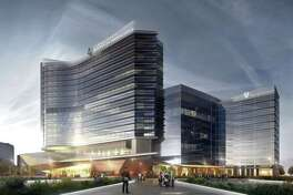 A rendering of the two-building hospital at the CHI St. Luke's Health-Baylor St. Luke's Medical Center McNair Campus.