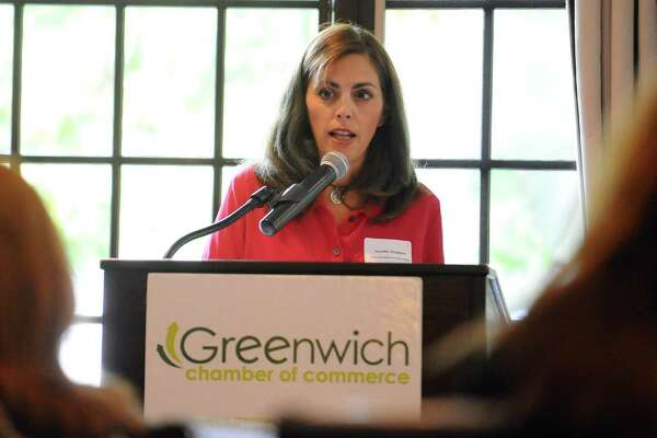 Lisa Lori, founder of a new art inspired lifestyle store and cafe The Perfect Provenance, speaks during the Greenwich Chamber of Commerce's Women Who Matter luncheon at the Milbrook Club in Greenwich, Conn. on Thursday, Oct. 20, 2016.