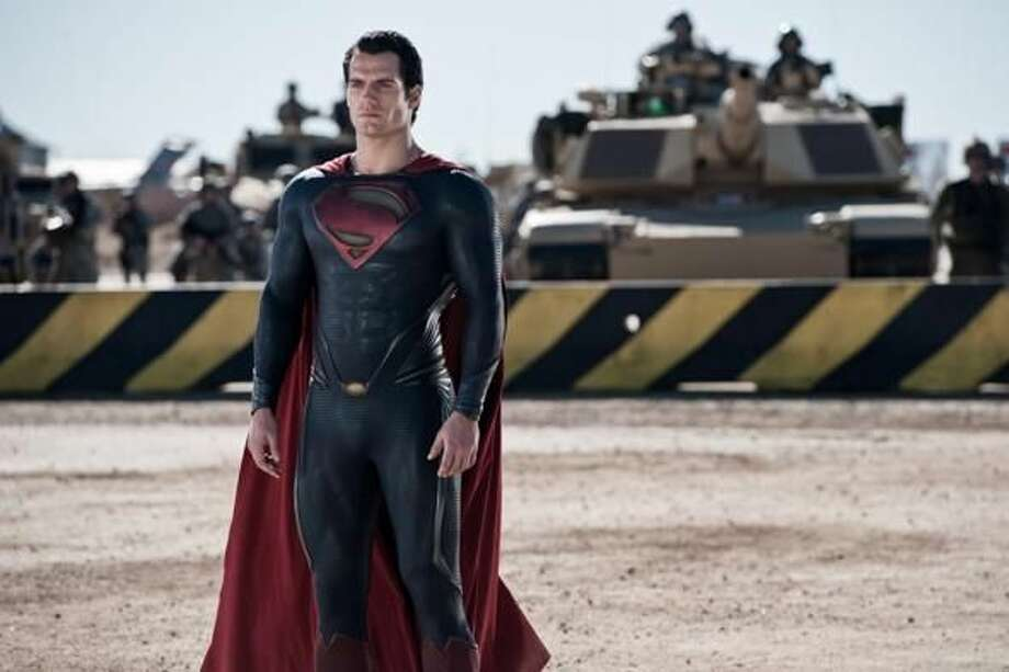 "Henry Cavill portrays Superman in ""Man of Steel."" Photo by Clay Enos/Warner Bros. Pictures"