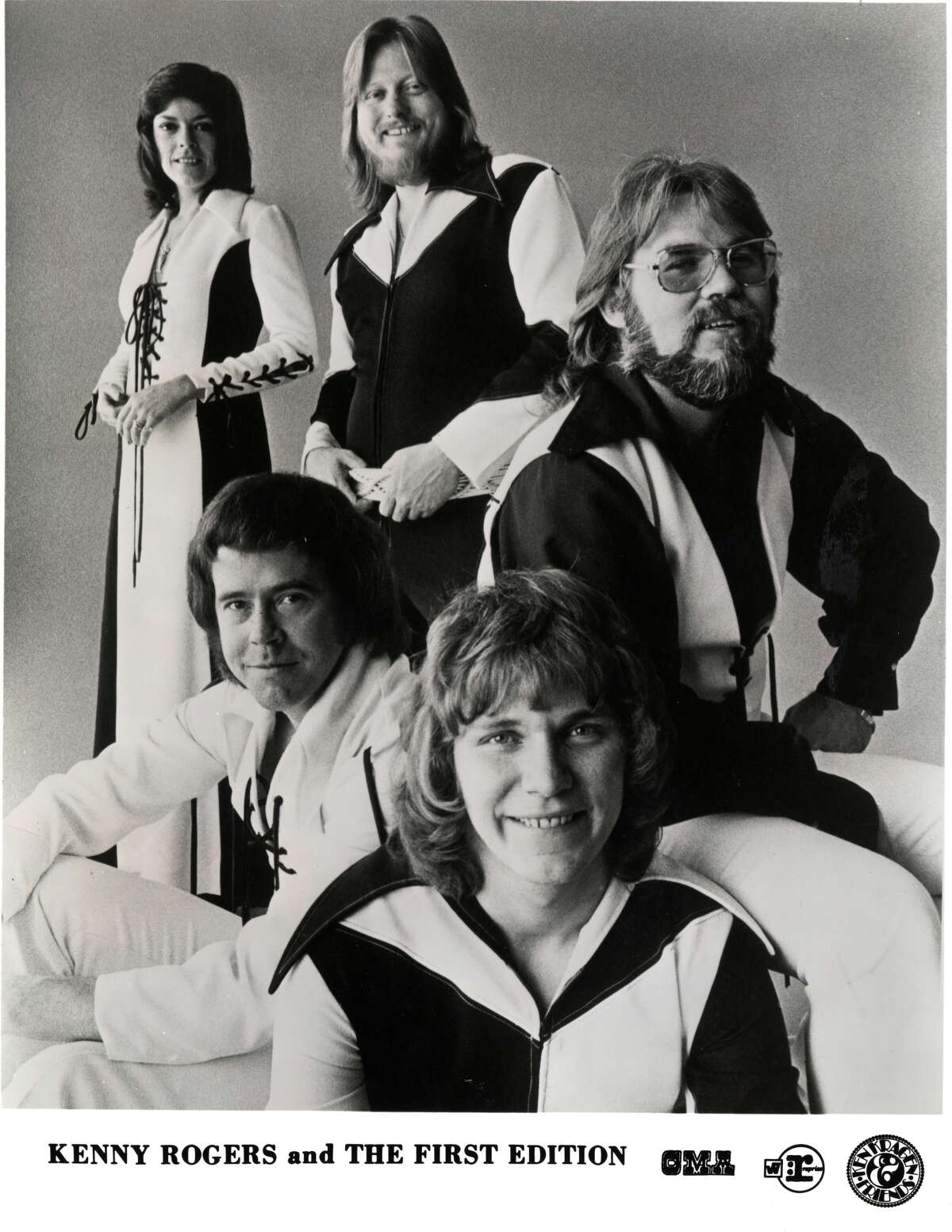 Folk-rock group Kenny Rogers and the First Edition featured, clockwise from top left, Thelma Camacho, Mickey Jones, Kenny Rogers, Terry Williams and Mike Settle.