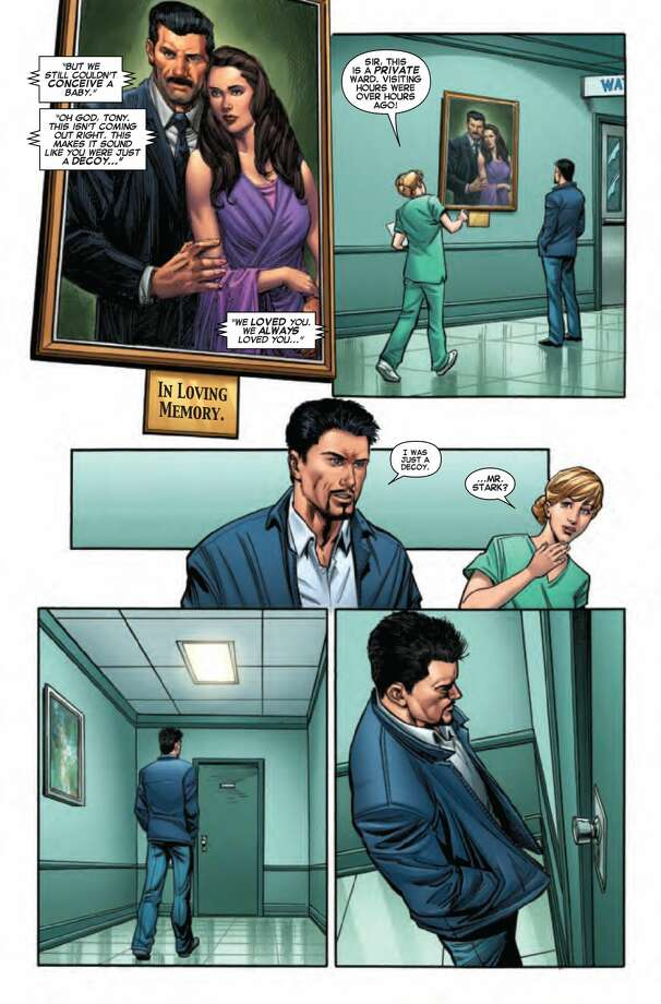 "This image provided by Marvel shows shows a page from ""Iron Man"" No. 17, out Wednesday, Oct. 23, 2013 in comic shops. In the issue, Tony Stark, the avenging philanthropic billionaire better known for the high-tech armor he wears as Iron Man, is about to find himself felled by not one, but two, family secrets that has him questioning his place in the world and why the reality of his origin was kept from him. (AP Photo/Marvel)"