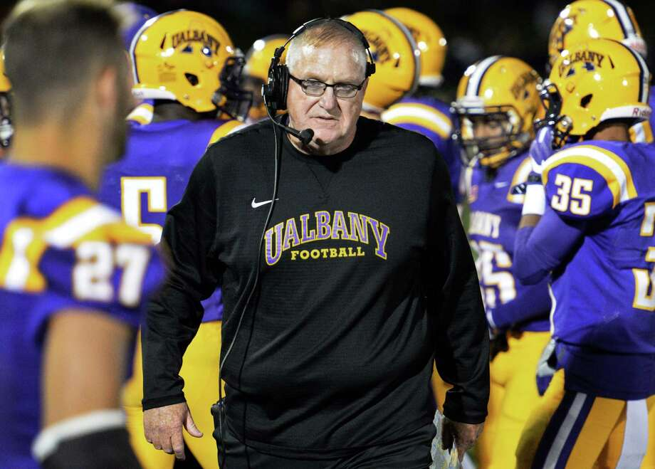 UAlbany head coach Greg Gattuso with players along the sidelines during Saturday's game against Saint Francis at Casey Stadium Sept. 24, 2016 in Albany, NY.    (John Carl D'Annibale / Times Union) Photo: John Carl D'Annibale / 40038137A
