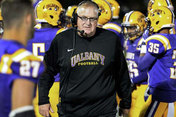 UAlbany head coach Greg Gattuso with players along the sidelines during Saturday's game against Saint Francis at Casey Stadium Sept. 24, 2016 in Albany, NY.    (John Carl D'Annibale / Times Union)