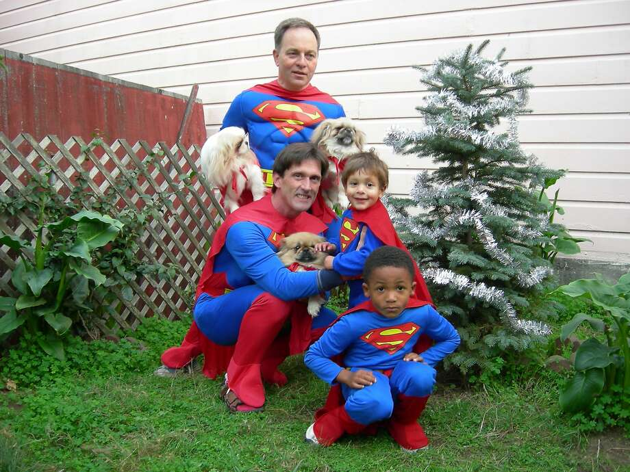 The Fisher-Paulsons dress as superheroes for Halloween. Photo: Courtesy Kevin Fisher-Paulson