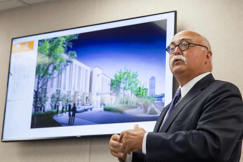 Architect Gary Everton discusses the design of the new Tennessee State Museum being built in Nashville, Tenn., on Wednesday, Sept. 21, 2016. The museum is scheduled to open its doors to the public in the fall of 2018. (AP Photo/Erik Schelzig)
