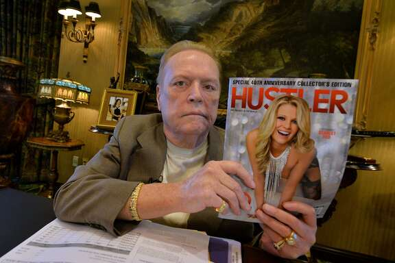 "(FILES) This file photo taken on August 26, 2014 shows porn mogul Larry Flynt talking about the 40th anniversary of 'Hustler' magazine at his offices in Beverly Hills, California. Flynt, the man behind Hustler magazine and Hustler clubs, announced October 17, 2016 that he is offering an up to $1 million bounty for any ""scandalous"" clips of Republican presidential nominee Donald Trump. Flynt is seeking ""verifiable video footage or audio recordings for use prior to the November 8 election clearly showing Donald Trump engaging in illegal activity or acting in a sexually demeaning or derogatory manner."" Hustler will pay the clip's provider if the company uses it in any way, a Monday news release said. / AFP PHOTO / MARK RALSTONMARK RALSTON/AFP/Getty Images"