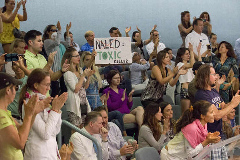 FILE- In this Sept. 14, 2016, photo, demonstrators cheer at a city commission meeting in Miami Beach, Fla. Opponents want to stop the aerial spraying of the insecticide naled, used to combat the Aedes aegypti mosquito. (AP Photo/Wilfredo Lee, File)
