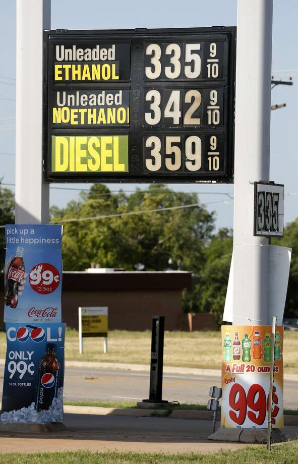 This photo taken June 20, 2013 shows a sign advertising pricing for different types of gasoline is pictured at a gas station in Oklahoma City. A high blend of ethanol gasoline, E15, which contains 5 percent more ethanol than the 10 percent norm sold at most U.S. gas stations, is sold in just 20 stations in six Midwestern states. But sales could spread as the Obama administration considers whether to require more ethanol in gasoline; it's cheaper and cleaner but it could damage older cars and motorcycles. And American Petroleum Institute, the oil industry's powerful lobbying group, has asked the Supreme Court to block it's sale. The Court may decide as soon as Monday, June 24, 2013, whether to hear the case. (AP Photo/Sue Ogrocki)