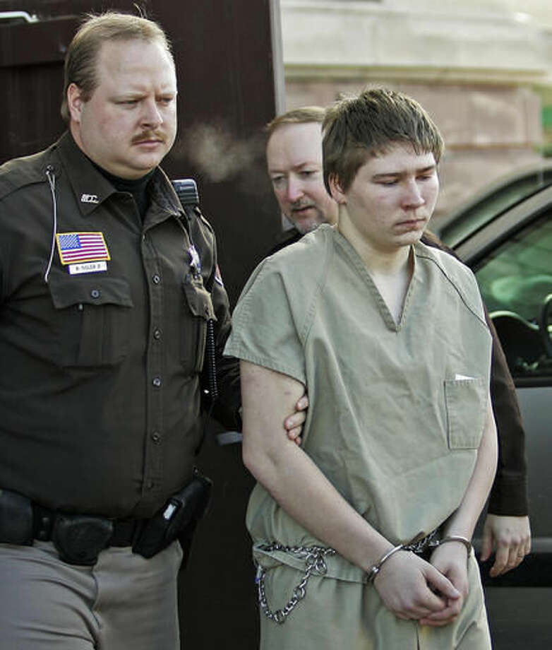 "FILE - In this March 3, 2006, file photo, Brendan Dassey is escorted out of a Manitowoc County Circuit courtroom in Manitowoc, Wis. Attorneys for Dassey, who was convicted of helping his uncle kill a woman in a case profiled in the popular Netflix series ""Making a Murderer,"" are asking for his release while his appeal is pending. A motion filed in federal court Wednesday, Sept. 14, 2016, argues that Dassey is not a flight risk and would not pose a danger to the public if he's released. (AP Photo/Morry Gash, File)"