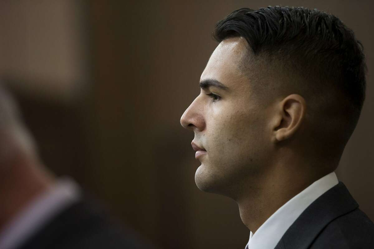 Oakland police officer Giovanni LoVerde, during his arraignment at the Hayward Hall of Justice, on Friday, Oct. 21, 2016 in Hayward, Calif. LoVerde pleaded not guilty to a sexual misconduct charge.