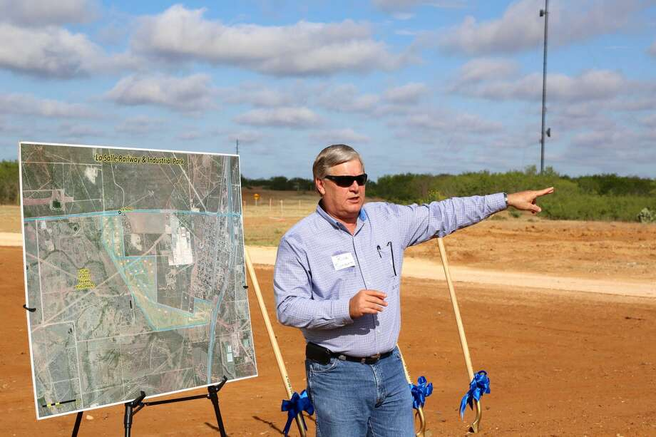 Rick Smart, vice president of Global Operations for Lewis Energy Group, speaks during the La Salle Railway and Industrial Park groundbreaking Thursday. (Courtesy photo)
