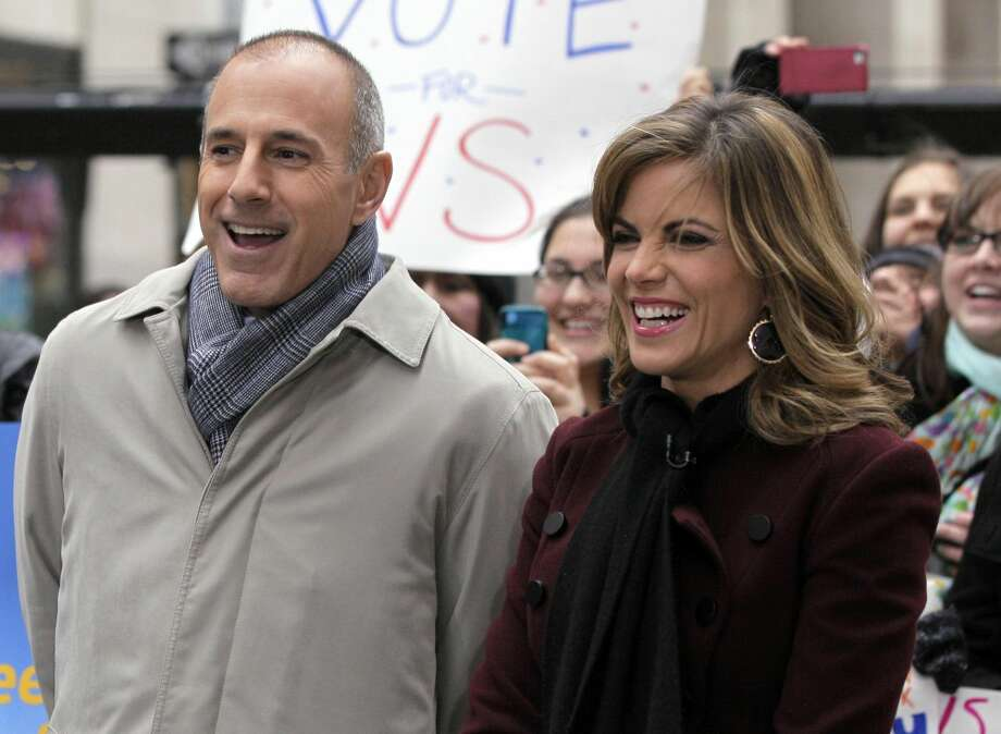 "In this Nov. 7, 2012 file photo, NBC ""Today"" co-host Matt Lauer, left, and the program's newswoman Natalie Morales, appear during a segment of the show in New York's Rockefeller Center. Lauer told advertisers that he wants to get the �Today� show back to being the most-watched and least talked about show on morning television, and he expects to do it. (AP Photo/Richard Drew, File)"