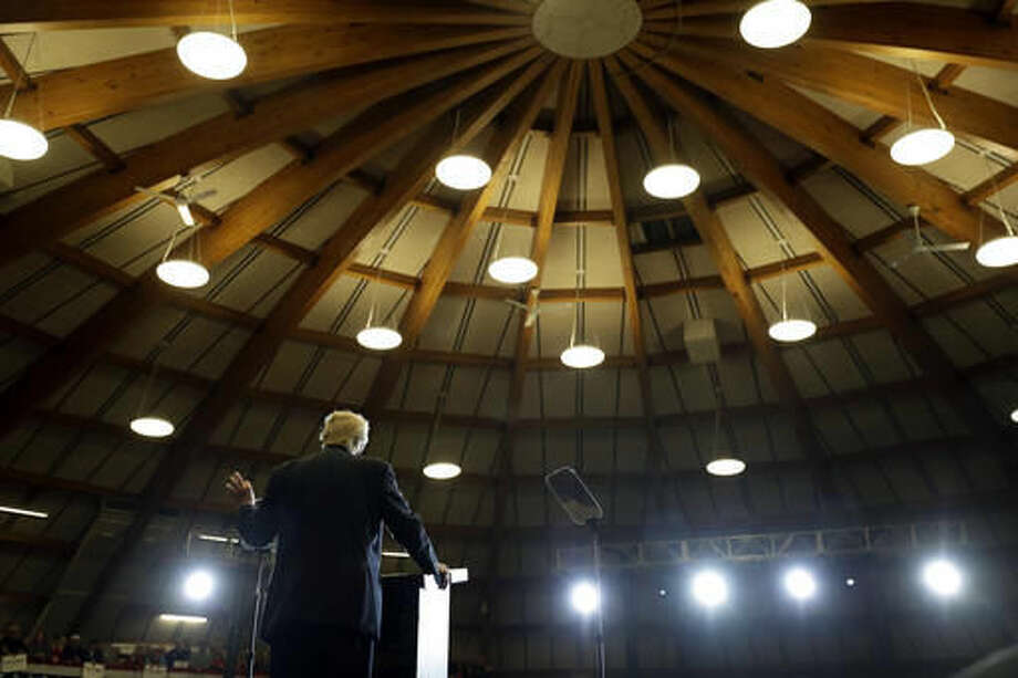 Republican presidential candidate Donald Trump speaks at a rally, Wednesday, Sept. 28, 2016, in Waukesha, Wis. (AP Photo/John Locher)