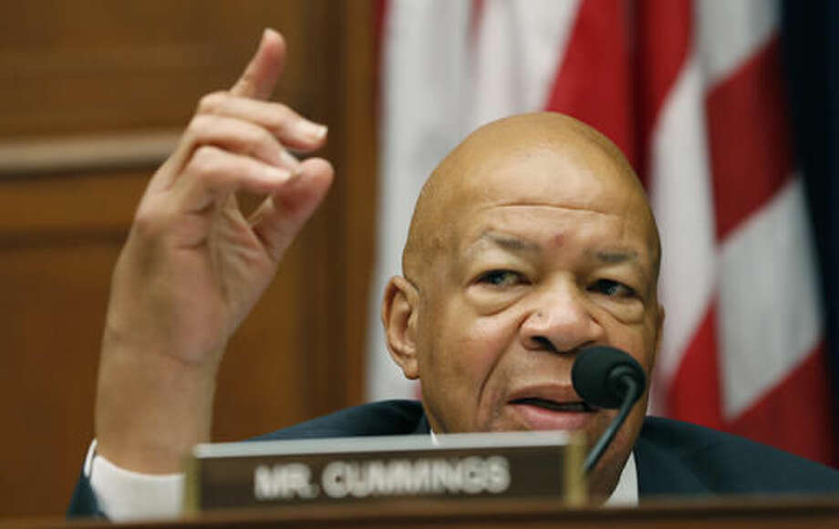 Rep. Elijah Cummings, D-Md., ranking member on the House Oversight Committee questions Mylan CEO Heather Bresch during the committee's hearing on Capitol Hill in Washington, Wednesday, Sept. 21, 2016, on EpiPen price increases. Bresch defended the cost for life-saving EpiPens, signaling the company has no plans to lower prices despite a public outcry and questions from skeptical lawmakers. (AP Photo/Alex Brandon)