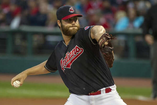 Cleveland Indians starting pitcher Cody Anderson delivers against the Chicago White Sox during the first inning of a baseball game in Cleveland, Saturday Sept. 24, 2016. (AP Photo/Phil Long)