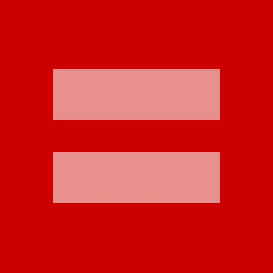 This image released by the Human Rights Campaign shows a redesign of their logo. A square box with thick pink horizontal lines (the mathematical equal symbol) was offered for sharing this week by the Human Rights Campaign as the U.S. Supreme Court took up arguments in key marriage rights cases. The image, replacing profile pictures on Facebook, Twitter, Instagram, Tumblr, Pinterest and elsewhere, is a makeover of the advocacy group's logo, usually a blue background with bright yellow lines. The HRC made it available in red — for the color of love — on Monday and estimated tens of millions of shares by Wednesday. (AP Photo/Human Rights Campaign)