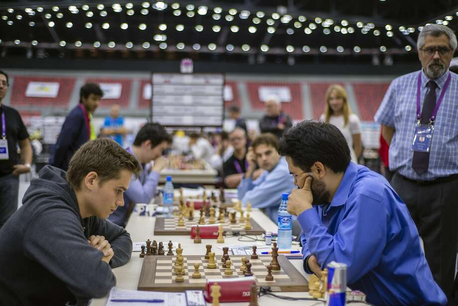 The U.S. chess team plays Canada in the last round of the 42nd Chess Olympiad in Azerbaijan on Sept. 13. Team USA was undefeated with nine wins and two draws. Photo: Oleksandr Rupeta, Oleksandr Rupeta/NurPhoto/Sipa USA