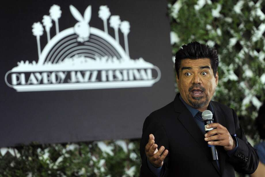 George Lopez, the new master of ceremonies for the Playboy Jazz Festival, addresses reporters during a news conference at the Playboy Mansion on Thursday, Feb. 28, 2013 in Los Angeles. The 35th Anniversary Playboy Jazz Festival will be held at the Hollywood Bowl on June 15 and 16. (Photo by Chris Pizzello/Invision/AP)