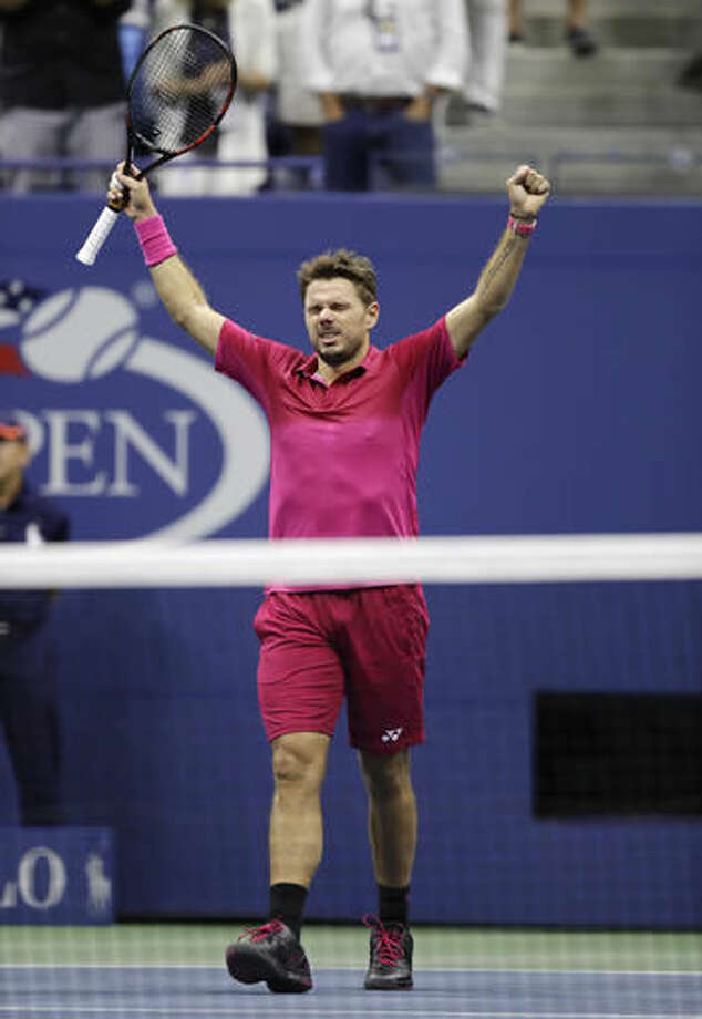 Stan Wawrinka, of Switzerland, reacts after defeating Novak Djokovic, of Serbia, to win the men's singles final of the U.S. Open tennis tournament, Sunday, Sept. 11, 2016, in New York. (AP Photo/Charles Krupa)
