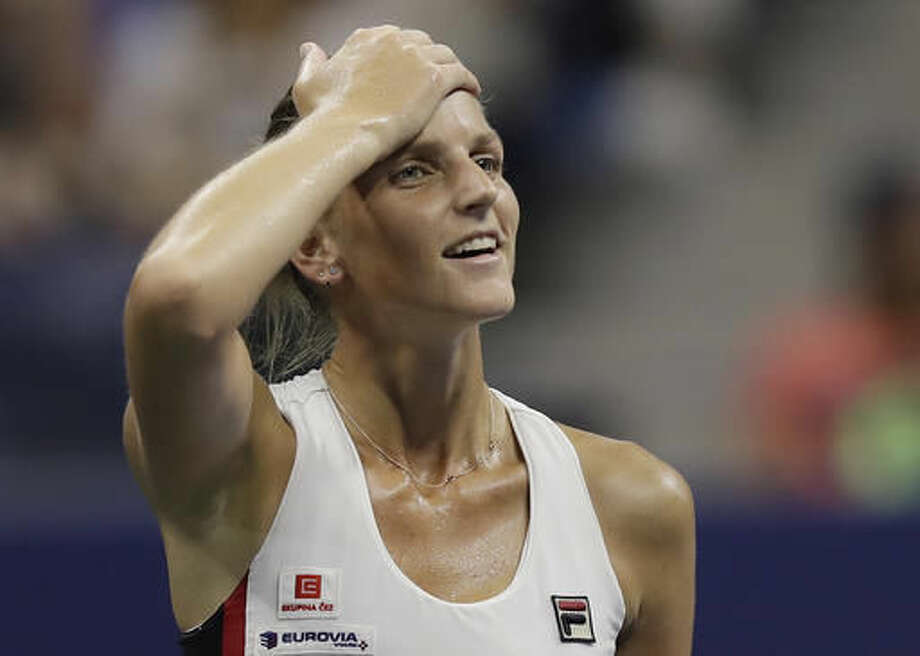 Karolina Pliskova, of the Czech Republic, reacts after beating Serena Williams during the semifinals of the U.S. Open tennis tournament, Thursday, Sept. 8, 2016, in New York. (AP Photo/Charles Krupa)