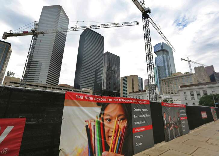 Construction of the new campus of the High School for the Performing and Visual Arts continues in downtown Houston. ( Mark Mulligan / Houston Chronicle )