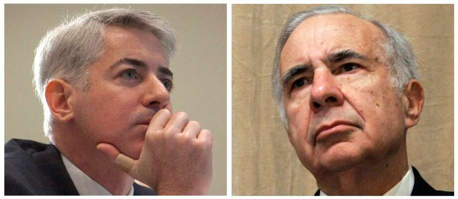 This file photo combo of file photos shows Bill Ackman, left, of Pershing Square Capital Management, on Feb. 6, 2012, in Toronto, and financier Carl Icahn, on Feb. 7, 2006, in New York. A clash between Wall Street titans is flaring again Friday, Feb. 15, 2013 after Carl Icahn grabbed a 13 percent stake in Herbalife, a supplement company that Pershing Square Capital Management's William Ackman shorted heavily and very publicly, calling it a massive pyramid scheme. The filing, which was published late Thursday, sent shares of Herbalife soaring more than 20 percent before the opening bell Friday. (AP Photo/Pawel Dwulit, Shiho Fukada, File)