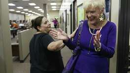 Doris Griffin, right, shares a laugh with Maria Diaz, 62, as she visits the Doris Griffin Senior One-Stop Center located at Ingram Park Plaza, Tuesday, Oct. 18,, 2016. The one-stop center opened in January 2015 and serves over 5,000 people. It features exercise equipment, workout rooms and offers free lunch. Griffin has been an advocate for senior citizens and is the executive director of Jefferson Outreach.