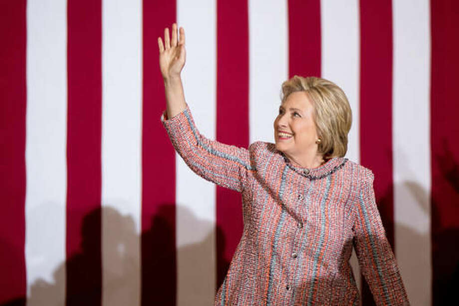 Democratic presidential candidate Hillary Clinton arrives at a rally at University of North Carolina, in Greensboro, N.C., Thursday, Sept. 15, 2016. Clinton returned to the campaign trail after a bout of pneumonia that sidelined her for three days and revived questions about both Donald Trump's and her openness regarding their health. (AP Photo/Andrew Harnik)