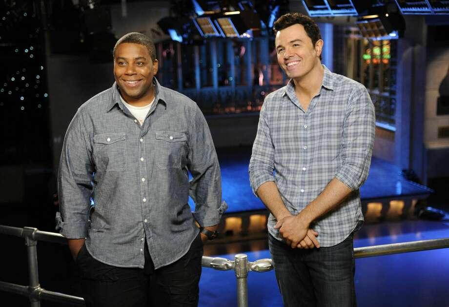 """This Sept. 11, 2012 photo provided by NBC shows Kenan Thompson, left, and host Seth MacFarlane on the set of """"Saturday Night Live"""" in New York. MacFarlane is hosting SNL's season premiere on Saturday, Sept. 15, with musical guest Frank Ocean. (AP Photo/NBC, Dana Edelson)"""