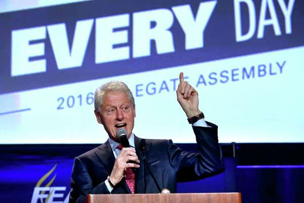 Former president Bill Clinton delivers remarks at the 2016 Florida Education Association Delegate Assembly in Orlando, Fla., Friday, Oct. 21, 2016. Clinton kicked off a multi-city Florida bus tour to campaign for his wife Democratic presidential candidate Hillary Clinton.  (Joe Burbank/Orlando Sentinel via AP)