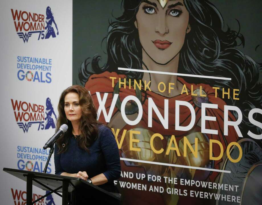 "Lynda Carter, who played Wonder Woman on television, speaks during a U.N. meeting to designate Wonder Woman as an ""Honorary Ambassador for the Empowerment of Women and Girls,"" Friday, Oct. 21, 2016 at U.N. headquarters. (AP Photo/Bebeto Matthews) ORG XMIT: XUNB101 Photo: Bebeto Matthews / Copyright 2016 The Associated Press. All rights reserved. This m"