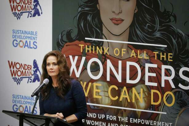 """Lynda Carter, who played Wonder Woman on television, speaks during a U.N. meeting to designate Wonder Woman as an """"Honorary Ambassador for the Empowerment of Women and Girls,"""" Friday, Oct. 21, 2016 at U.N. headquarters. (AP Photo/Bebeto Matthews) ORG XMIT: XUNB101"""