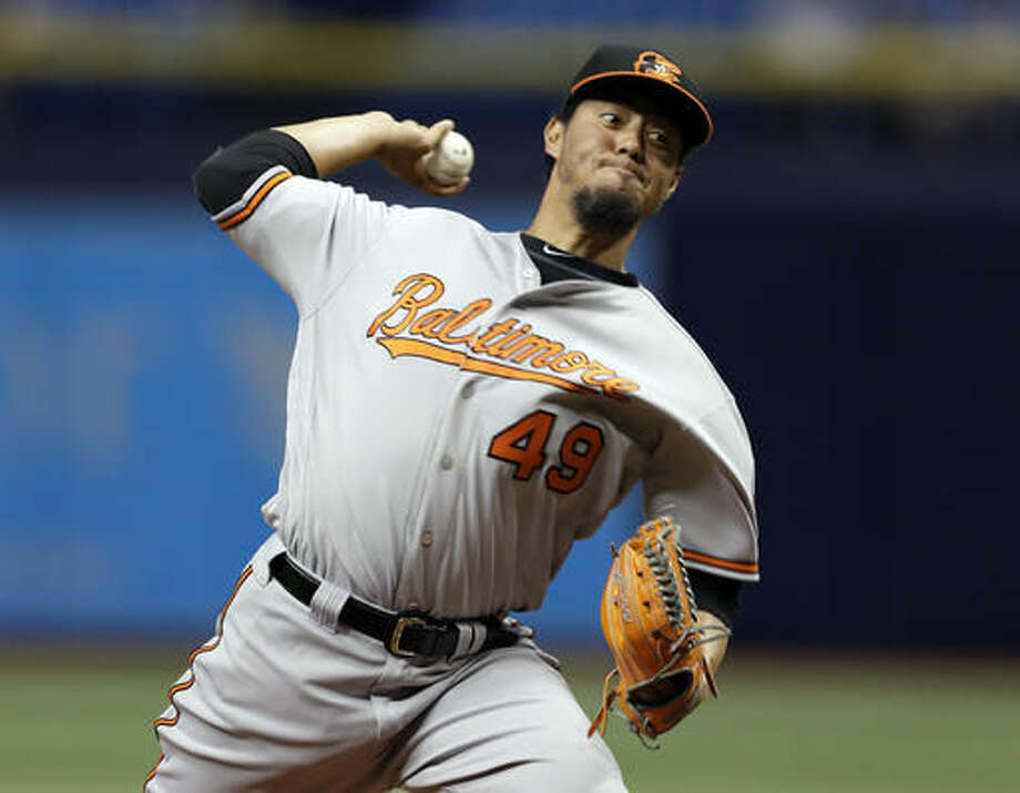 Baltimore Orioles starting pitcher Yovani Gallardo delivers to the Tampa Bay Rays during the first inning of a baseball game Tuesday, Sept. 6, 2016, in St. Petersburg, Fla. (AP Photo/Chris O'Meara)