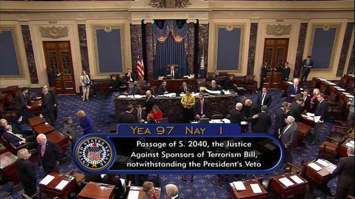 This frame grab from video provided by C-SPAN2, shows the floor of the Senate on Capitol Hill in Washington, Wednesday, Sept. 28, 2016, as the Senate acted decisively to override President Barack Obama's veto of Sept. 11 legislation. The White House saw it coming, but still it stung. When President Barack Obama was hit with the first veto override of his presidency on Wednesday, it landed as a clear reminder of his dwindling political influence, years of confounding relationships with Congress and shaky prospects for the few legislative priorities he has left (C-SPAN2 via AP)