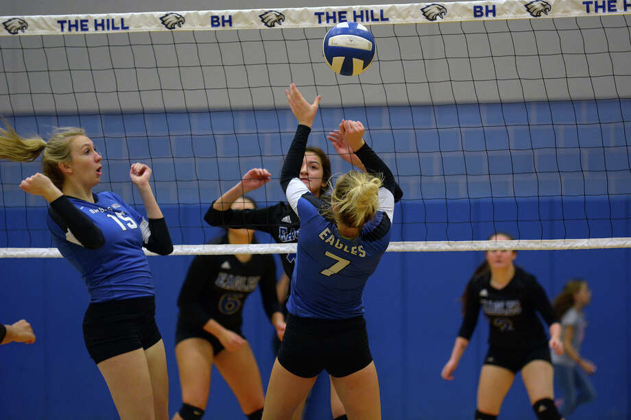 Barber Annual Salary : Barbers Hill junior middle blocker Kenady Bertling (15) watches ...