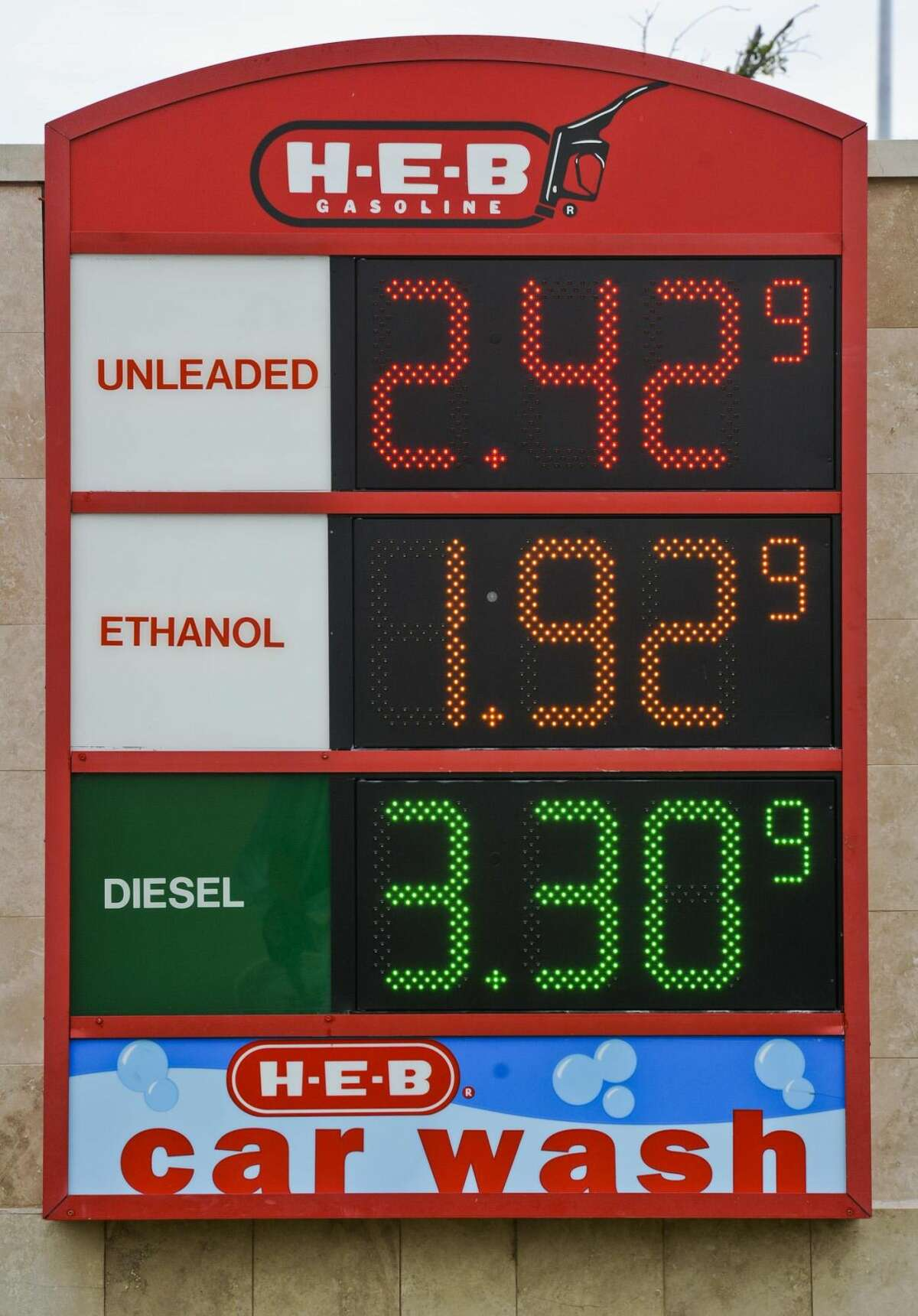 A sign displays gas prices - including $2.42 for unleaded - at the H-E-B Plus. Laredo boasted the nation's cheapest gas on Monday. (Photo by Danny Zaragoza/Laredo Morning Times)