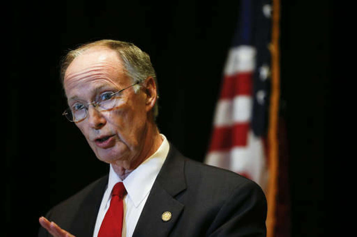 Alabama Gov. Robert Bentley speaks to the media during a news conference, Monday, Sept. 19, 2016, in Hoover, Ala. Bentley issued a state of emergency in Alabama after a pipeline spill near Helena, Ala. Gas prices spiked and drivers found
