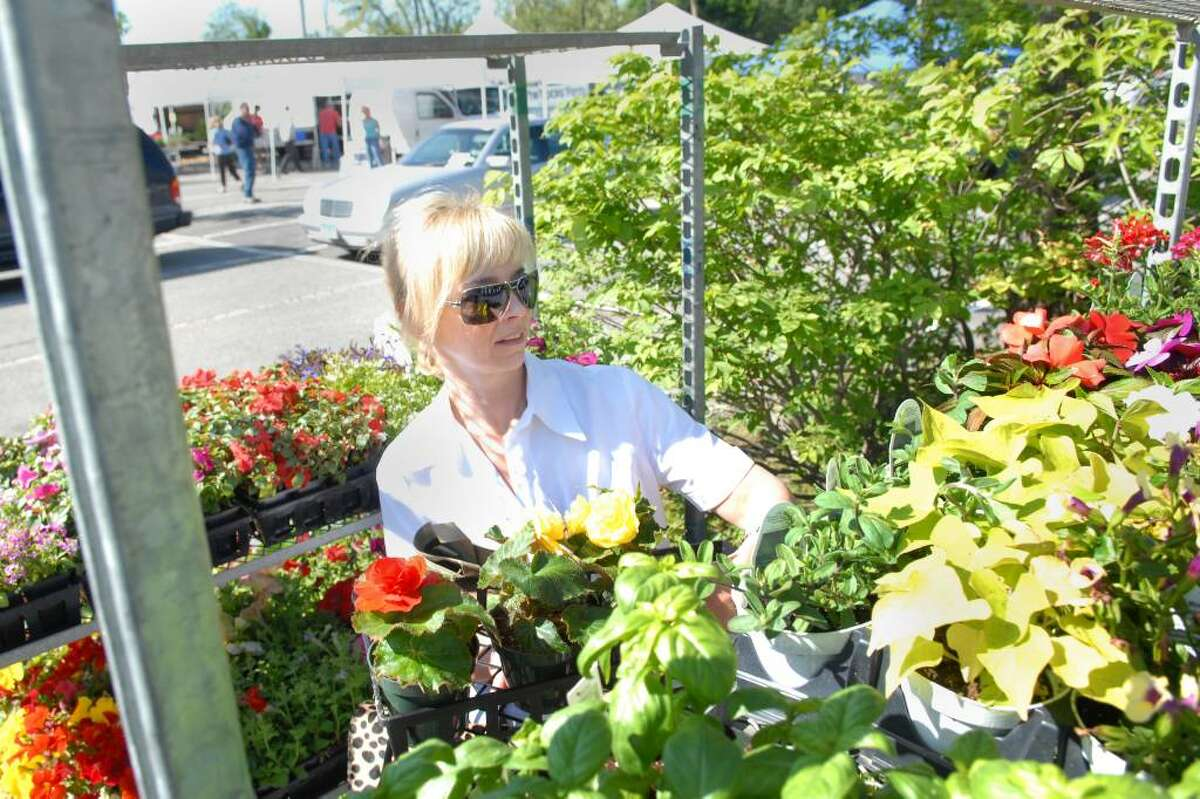 Avril Graham of Cos Cob shops for flowers during the opening day of the Greenwich Farmers Market in the Horseneck public parking lot, Greenwich, Saturday morning, May 15, 2010.