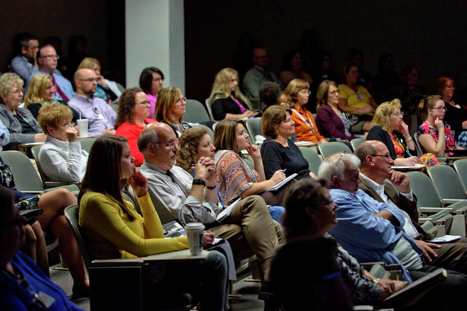NICK KING | nking@mdn.net  A crows listens as author and entrepreneur Josh Linkner gives a talk in the Towsley Auditorium on Monday at the MidMichigan Medical Center - Midland. Linkner's talk focused on bringing innovation to all aspects of health care. / Midland Daily News