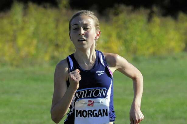 Wilton Morgan McCormick heads to the finish line in the FCIAC Girls Cross Country Championship at Waveny Park in New Canaan, Conn. on Wednesday, Oct. 19 2016. McCormick finished in 1st place with a time of 14:36.87.