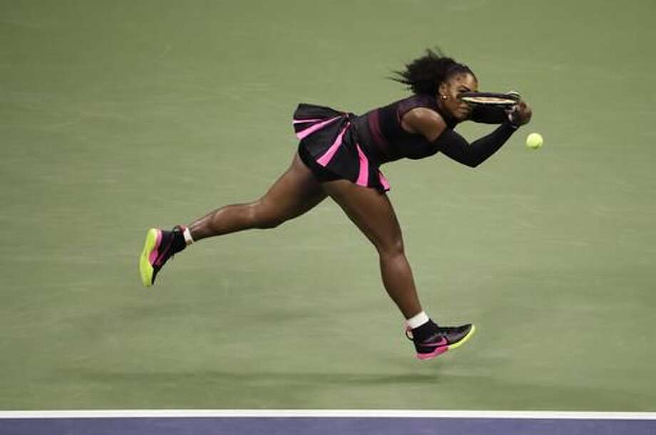 Serena Williams returns a shot to Karolina Pliskova, of the Czech Republic, during the semifinals of the U.S. Open tennis tournament, Thursday, Sept. 8, 2016, in New York. (AP Photo/Seth Wenig)