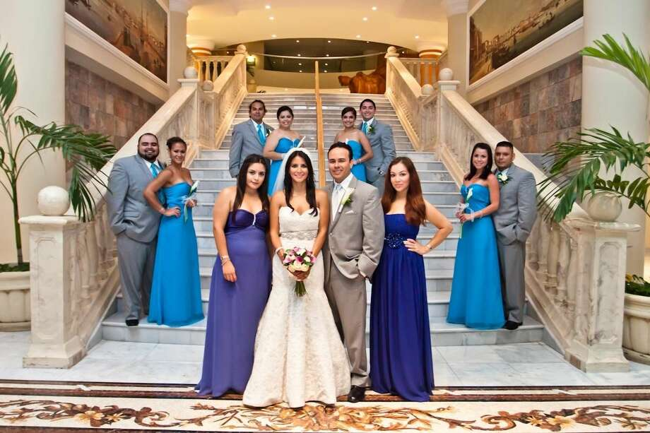 The bridal party pictured, left to right at the Iberostar Gran Hotel, are Zuni Magana, maid of honor; the bride and groom, Zulema Magana and Ezequiel Martinez; Maritza Hamill, bridesmaid; Oscar Benavidez and Ruby Ruiz; Alda Patino and Gabriel Tellez. Standing from left to right in the back, are Steven Martinez and Iza Luna; Cynthia Gutierrez and Sammy Rocha.