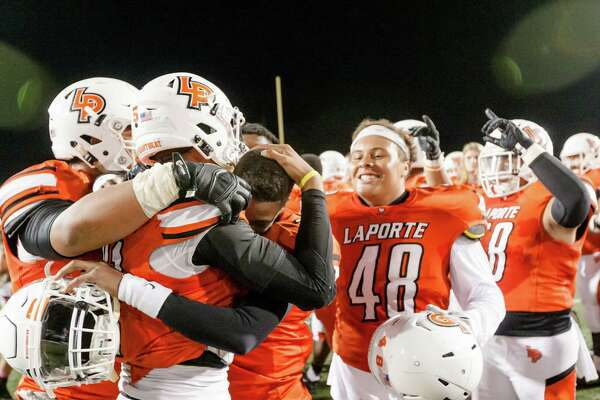 La Porte players celebrate after on the field after defeating Deer Park during the second half of action between Deer Park vs. La Porte high schools football game at Bulldog Stadium, Friday, Oct. 21, 2016, in La Porte. La Porte defeated Deer Park 35-21.( Juan DeLeon/for the Houston Chronicle )