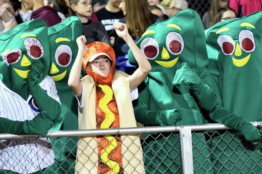 Stillwater's student section get ready for their football game against Mechanicville on Friday, Oct. 21, 2016, at Stillwater High in Stillwater, N.Y. (Cindy Schultz / Times Union) Photo: Cindy Schultz / Albany Times Union