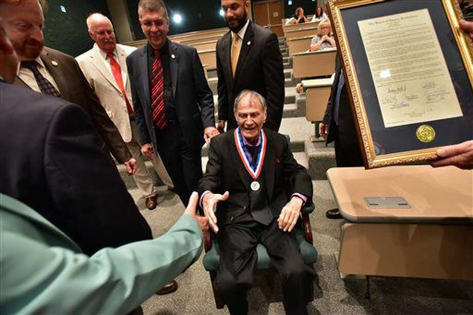 """Larry Storch, the actor in the 1960s sitcom """"F Troop"""" is honored by the Passaic County freeholders in Wayne, N.J., on Tuesday, Sept. 13, 2016. Mayor Alex Blanco told Storch that Passaic has been mentioned all over the world because of the program, which aired from 1965 to 1967. Storch said he picked Passaic for his character's hometown because """"it sounded tough."""" (Marko Georgiev /The Record via AP)"""