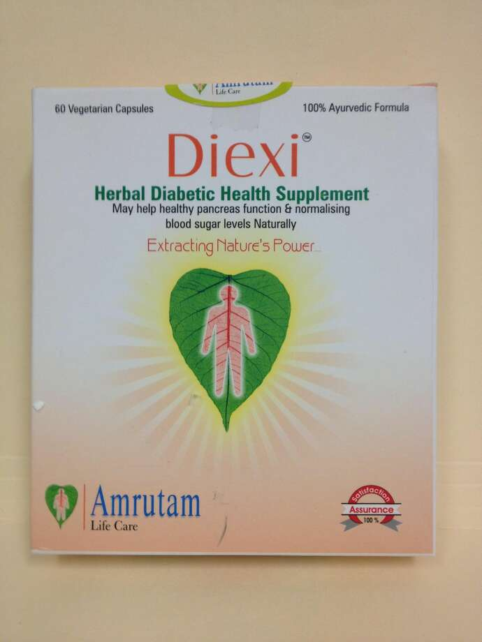 "This undated photo provided by The Food and Drug Administration (FDA) shows Diexi, which is sold as a traditional Indian ""herbal formula,"" which actually contains metformin, the most common prescription drug used to treat diabetes. The product is sold by Amrutam Life Care, of Surat, India. The FDA sent warning letters to 15 companies, including Amrutam Life Care, ordering them to stop selling diabetes treatments such as Diexi which violate U.S. drug laws. ( AP Photo/FDA)"