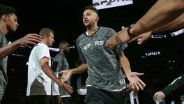 San Antonio SpursÕ Kyle Anderson is introduced before the preseason game with the Houston Rockets  game held Friday Oct. 21, 2016 at the AT&T Center.