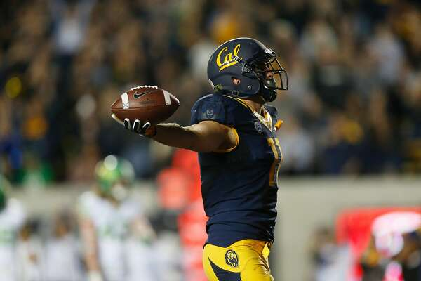 California wide receiver Raymond Hudson celebrates after scoring a touchdown during the first quarter of the game against the University of Oregon on October 21, 2016 in Berkeley, Calif.