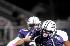 Port Neches-Groves' running back Preston Hughes cuts toward the Indians' sideline during a first quarter run in Friday's game against the Central Jaguars in Port Neches. (Mike Tobias/The Enterprise)