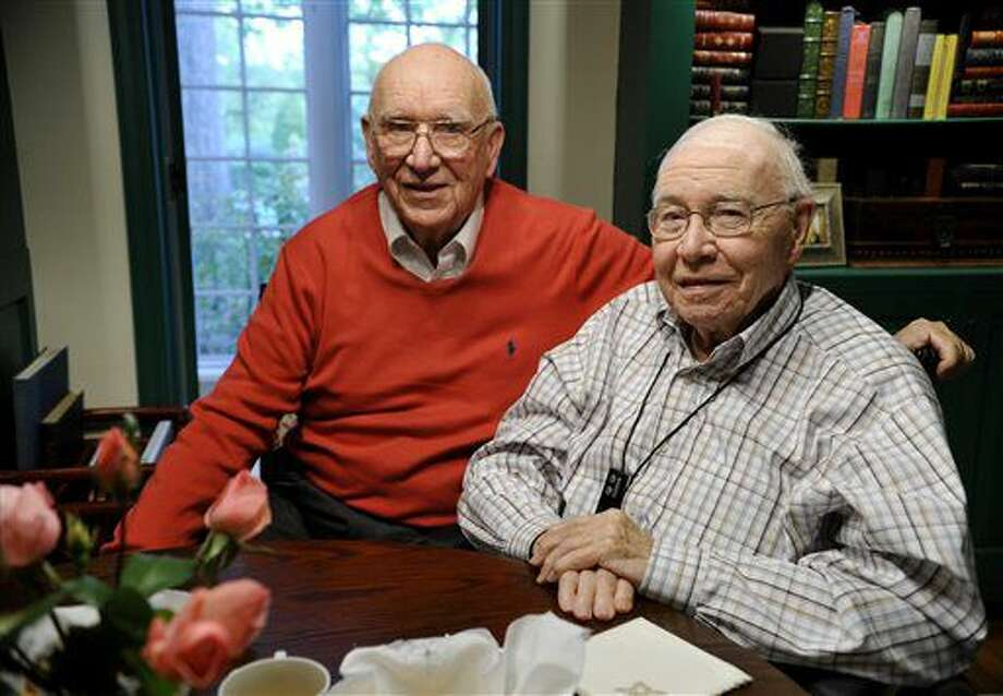 In this Oct. 23, 2013 photo, John Zimmerman, left, and Bill Wolf, two pillars of the Mt. Wolf and York communities, pose for a photo in Mt. Wolf, Pa. Pennsylvania Gov. Tom Wolf's father, Bill Wolf has died at age 95. A spokesman for the Democratic governor says Bill Wolf died Friday, Sept. 9, 2016 and arrangements are pending. The governor's office hasn't disclosed where the death occurred. (Chris Dunn/York Daily Record via AP)
